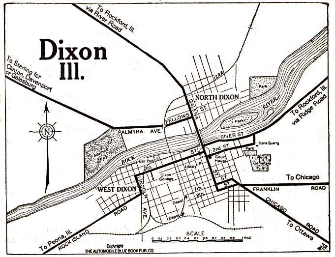 Historical Maps of U.S Cities. Dixon, Illinois 1919 Automobile Blue Book (117K)
