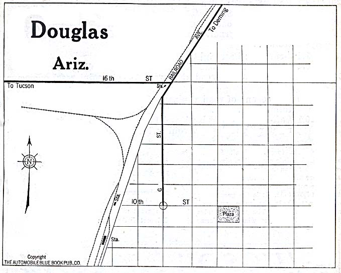 Historical Maps of U.S Cities. Douglas, Arizona 1920 Automobile Blue Book (78K)
