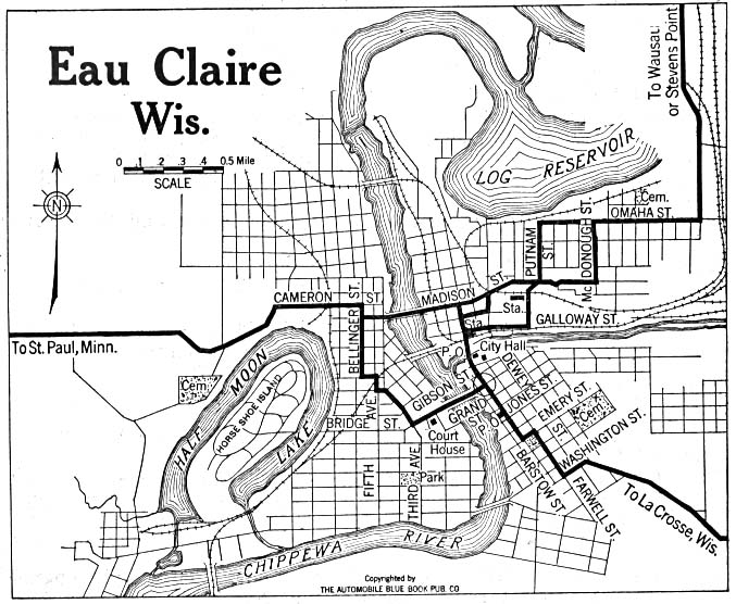 Historical Maps of U.S Cities. Eau Claire, Wisconsin 1919 Automobile Blue Book (137K)