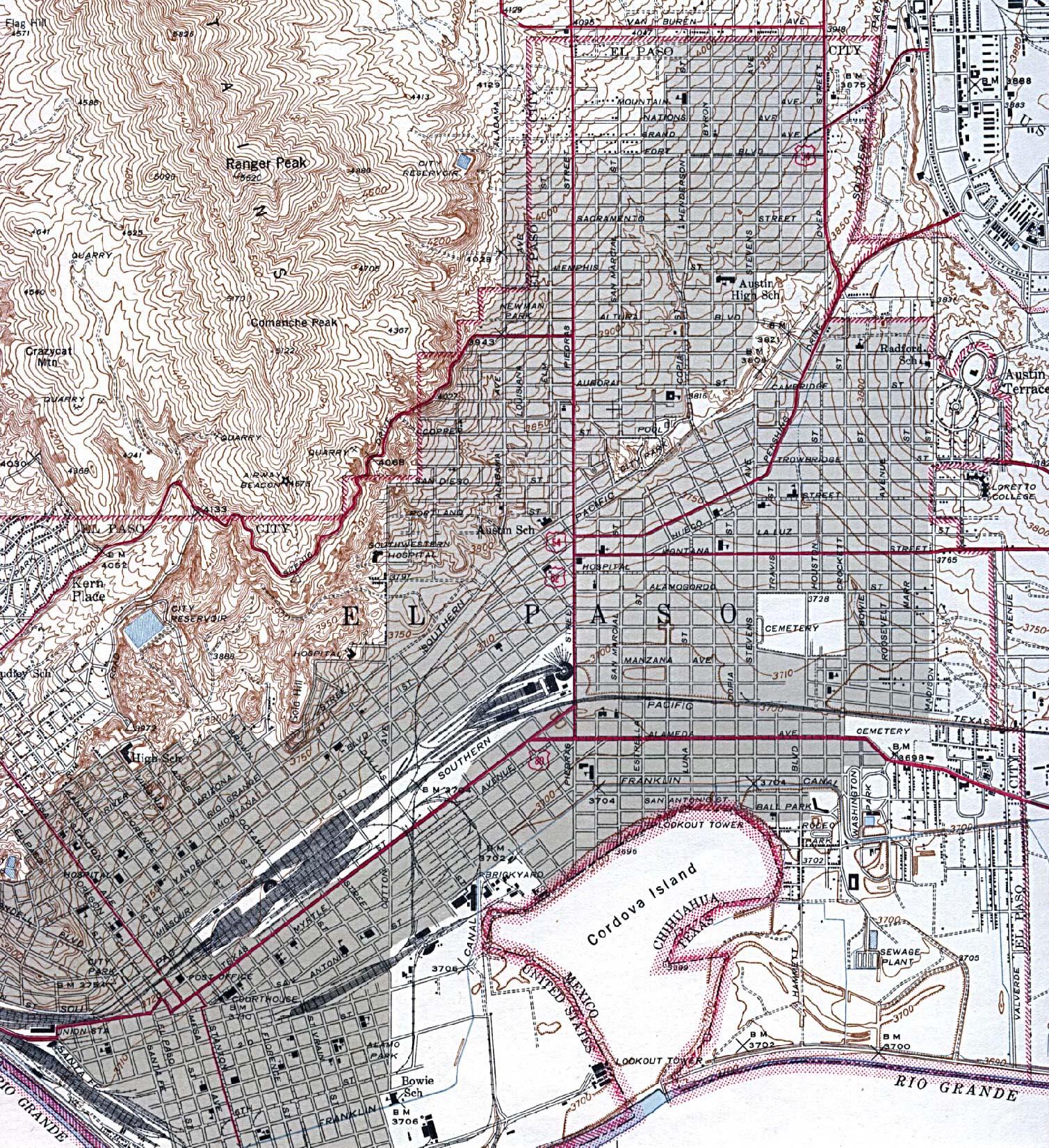 Historical Maps of U.S Cities. El Paso, Texas 1943 Original Scale 1:31,680. U.S. Geological Survey (975K)
