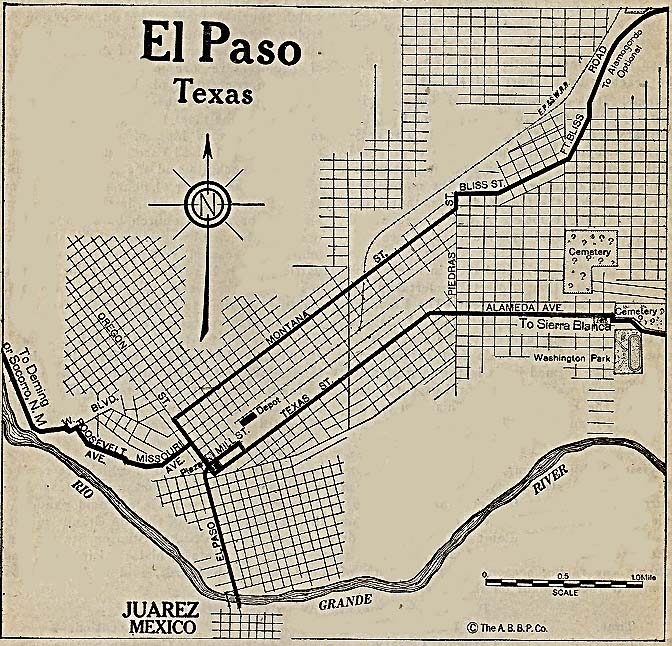1Up Travel - Historical Maps of U.S Cities.El Paso, Texas 1920 ...