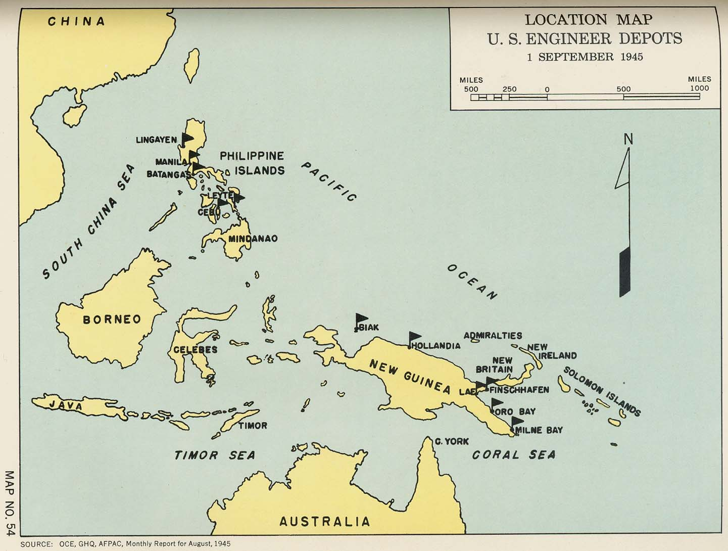 Engineers of the southwest pacific 1941 1945 vol 1 perry location map us engineer depots 1 september 1945 publicscrutiny Image collections