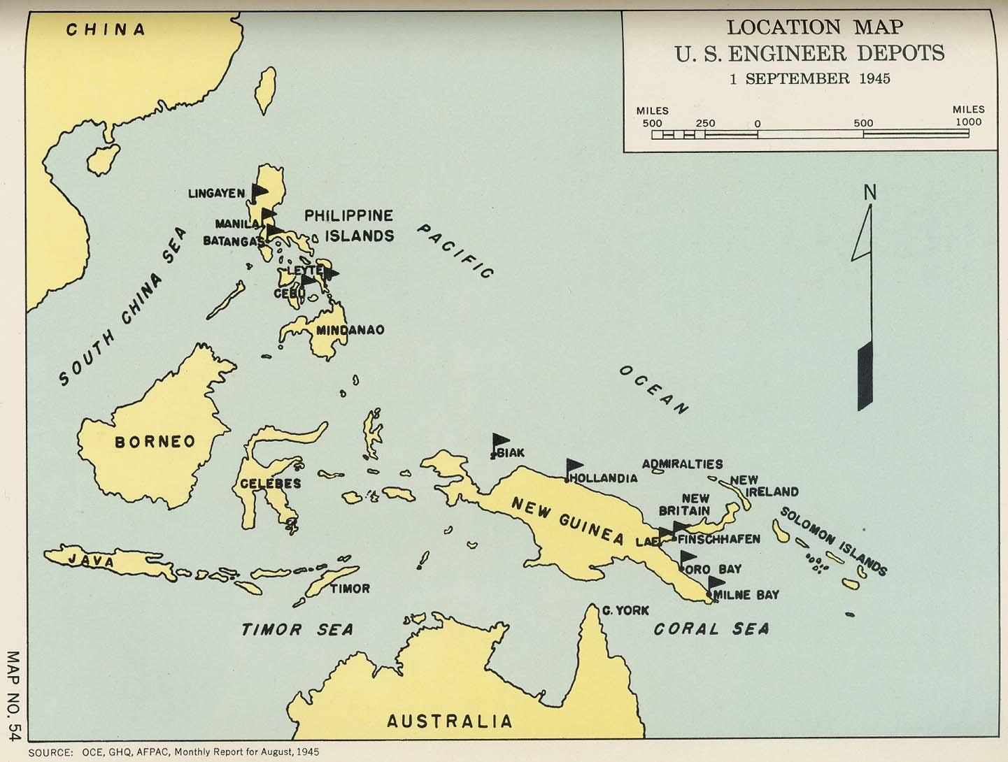 Location Map U S Engineer Depots 1 September 1945