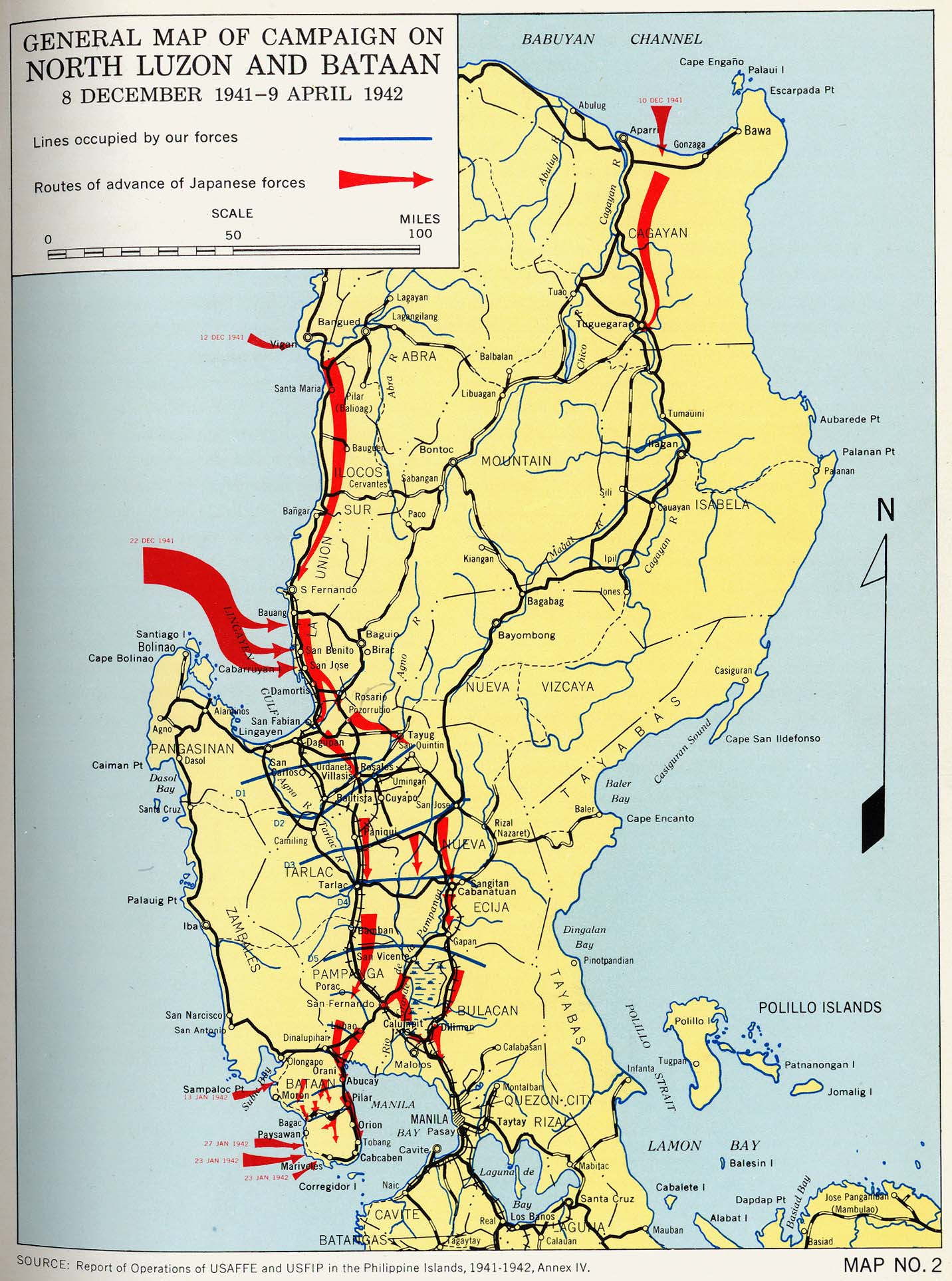 Engineers of the southwest pacific 1941 1945 vol 1 perry general map of campaign on north luzon and bataan 8 december 1941 9 april 1942 publicscrutiny Choice Image