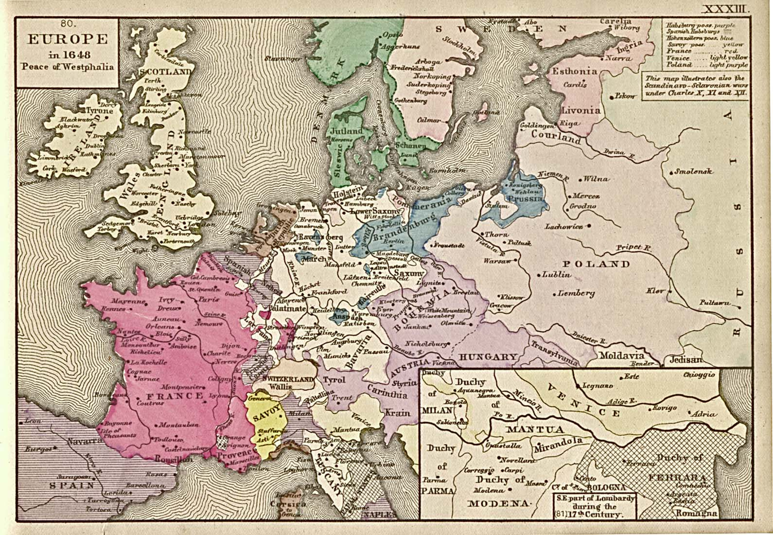 "Historical Maps of Europe. Europe in 1648 - Peace of Westphalia (452K) ""Europe in 1648.-Peace of Westphalia; showing especially (a,) The Possessions of the two branches of the house of Habsburg at the end of the Thirty Years War (purple). (b,) The possessions of the house of Hohenzollern, (union of Prussia with Brandeburg [blue.]). (c,) The Swedish Empire on both shores of the Baltic and in Northern Germany. (d,) The Danish Monarchy, Denmark, Norway, and Schonen. (e,) The British isles, with the battle-fields of the civil wars. (f,) France, with the battle-fields of the civil wars [red]. (g,) Germany with the battle-fields of the Thirty Years War. (h,) The republic of Poland in its greatest extent. (i,) The Western Boundary of Russia."" From ""An Historical Atlas Containing a Chronological Series of One Hundred and Four Maps, at Successive Periods, from the Dawn of History to the Present Day."" by Robert H. Labberton. Sixth Edition. 1884."