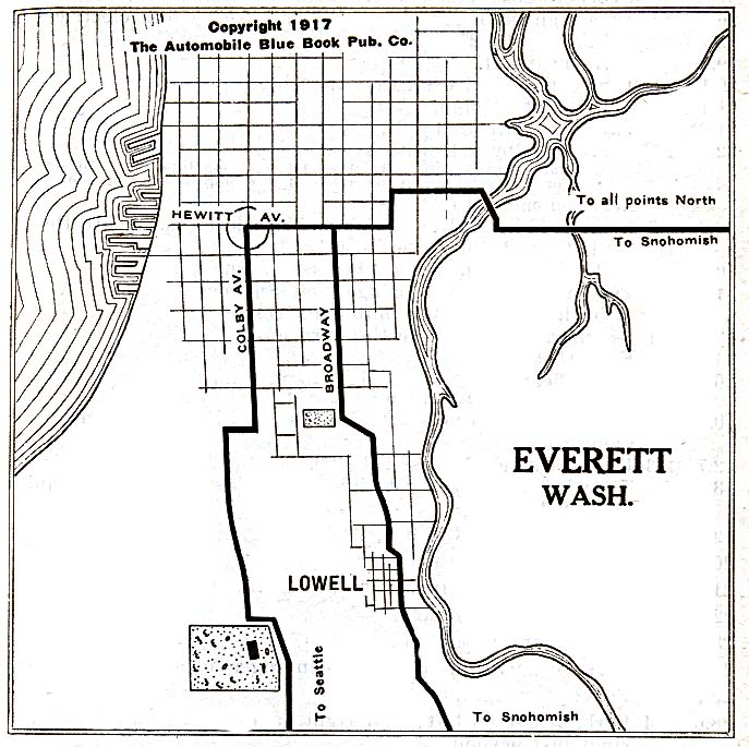 Historical Maps of U.S Cities. Everett, Washington 1917 Automobile Blue Book (137K)