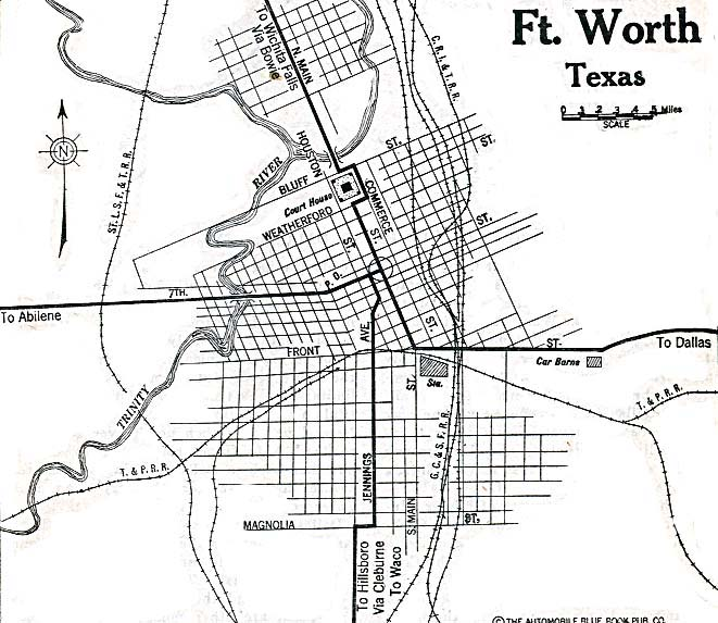 Historical Maps of U.S Cities. Fort Worth, Texas 1920 Automobile Blue Book (137K)