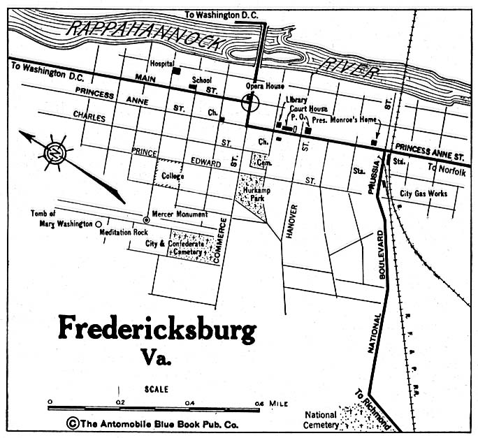 Historical Maps of U.S Cities. Fredericksburg, Virginia 1920 Automobile Blue Book (137K)