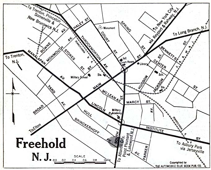 Historical Maps of U.S Cities. Freehold, New Jersey 1920 Automobile Blue Book (117K)