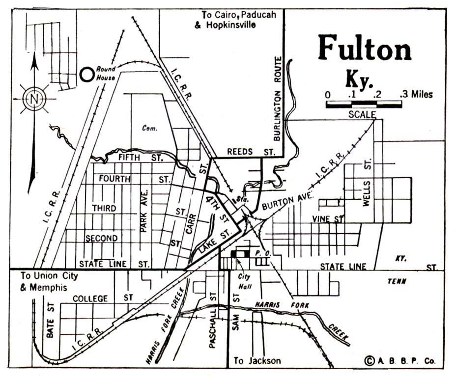 Historical Maps of U.S Cities. Fulton, Kentucky 1922 Automobile Blue Book (113K)