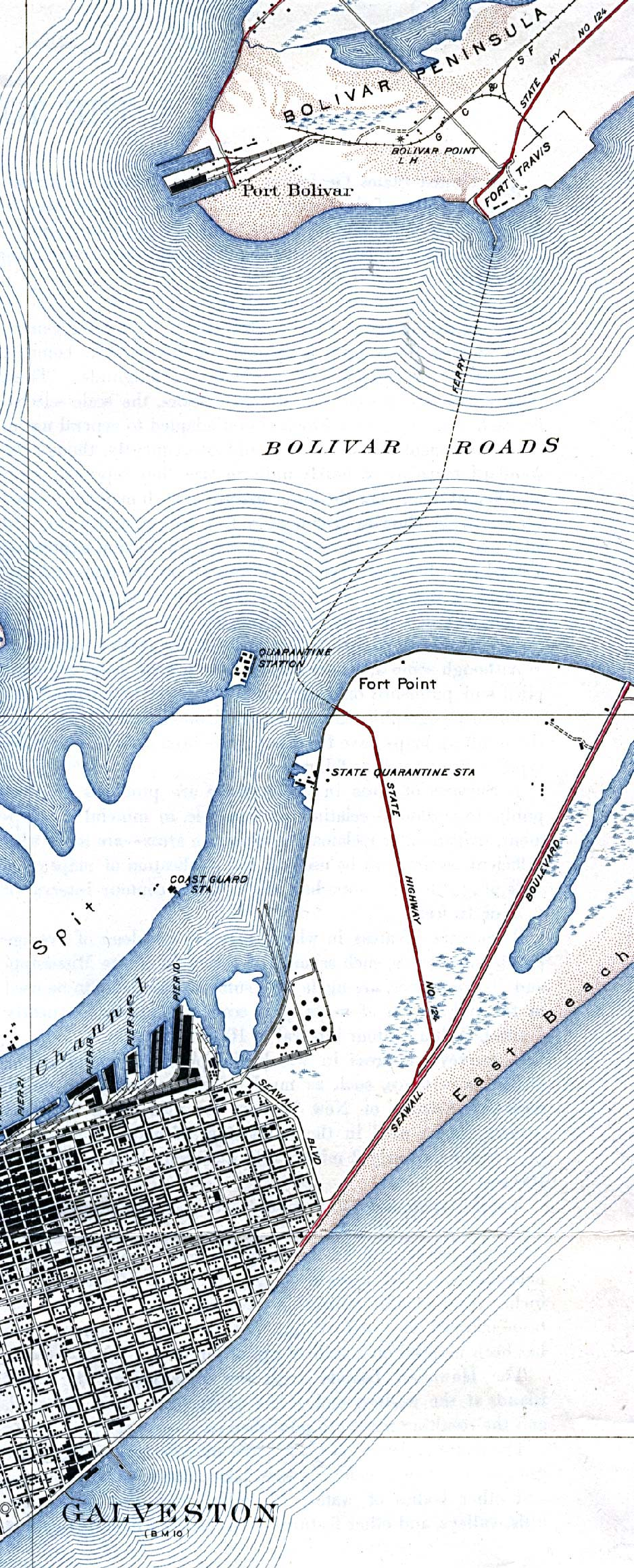 Historical Maps of Texas Cities. Galveston Ferry 1933 (Detail) Original Scale 1:31,680. 1933. (683K)