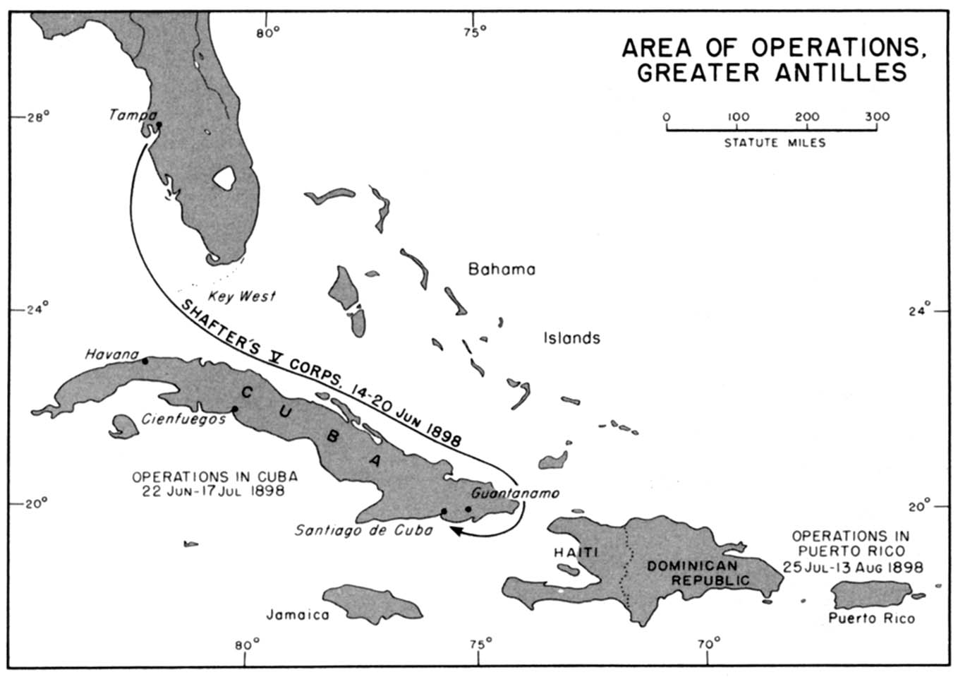 United states historical maps perry castaeda map collection 1898 greater antilles area of operations sciox Image collections