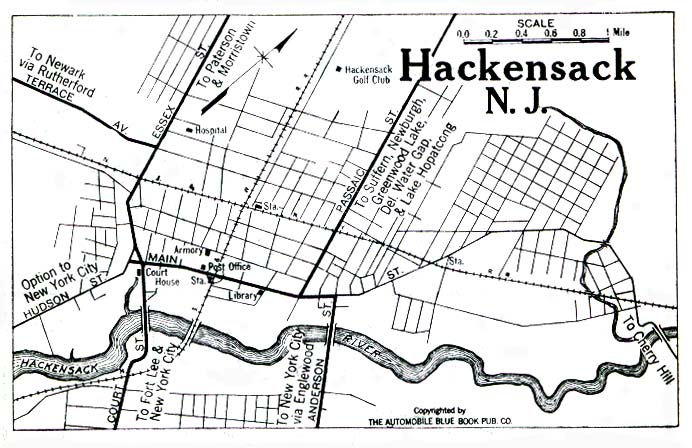Historical Maps of U.S Cities. Hackensack, New Jersey 1922 Automobile Blue Book (149K)