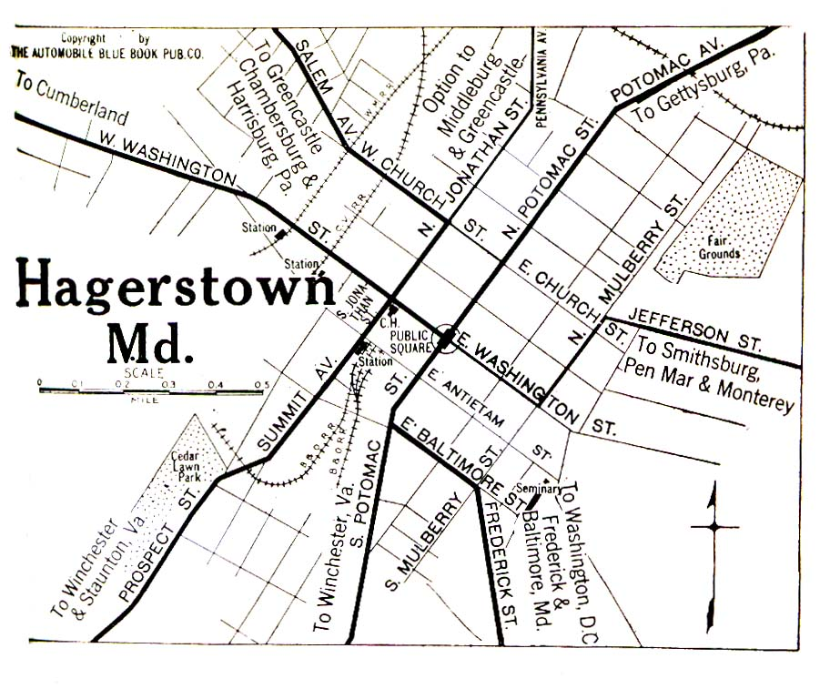 Historical Maps of U.S Cities. Hagerstown, Maryland 1920 Automobile Blue Book (323K)