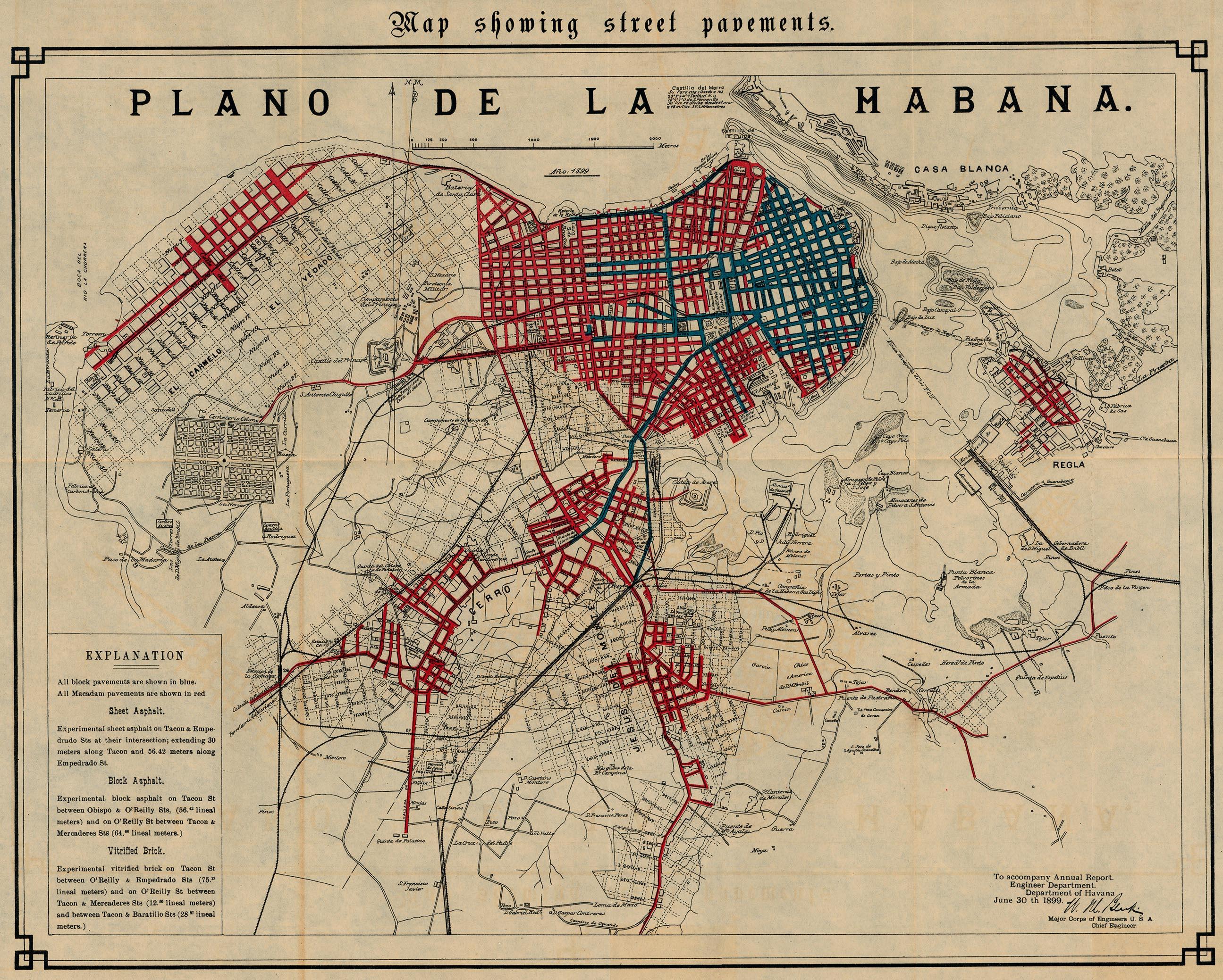 Havana Map Showing Street Pavements 1899