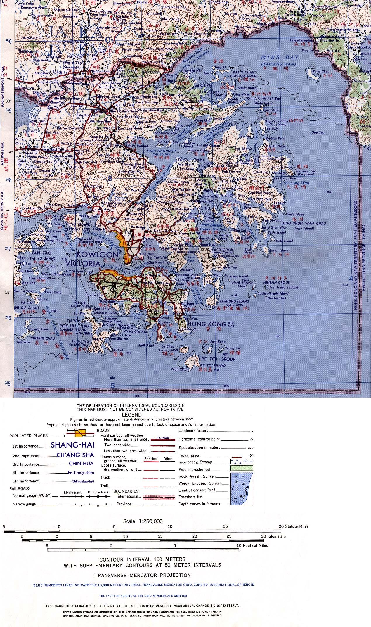 Hong Kong Map Service 1Up Travel   Historical Maps of China.Hong Kong 1954 (968K
