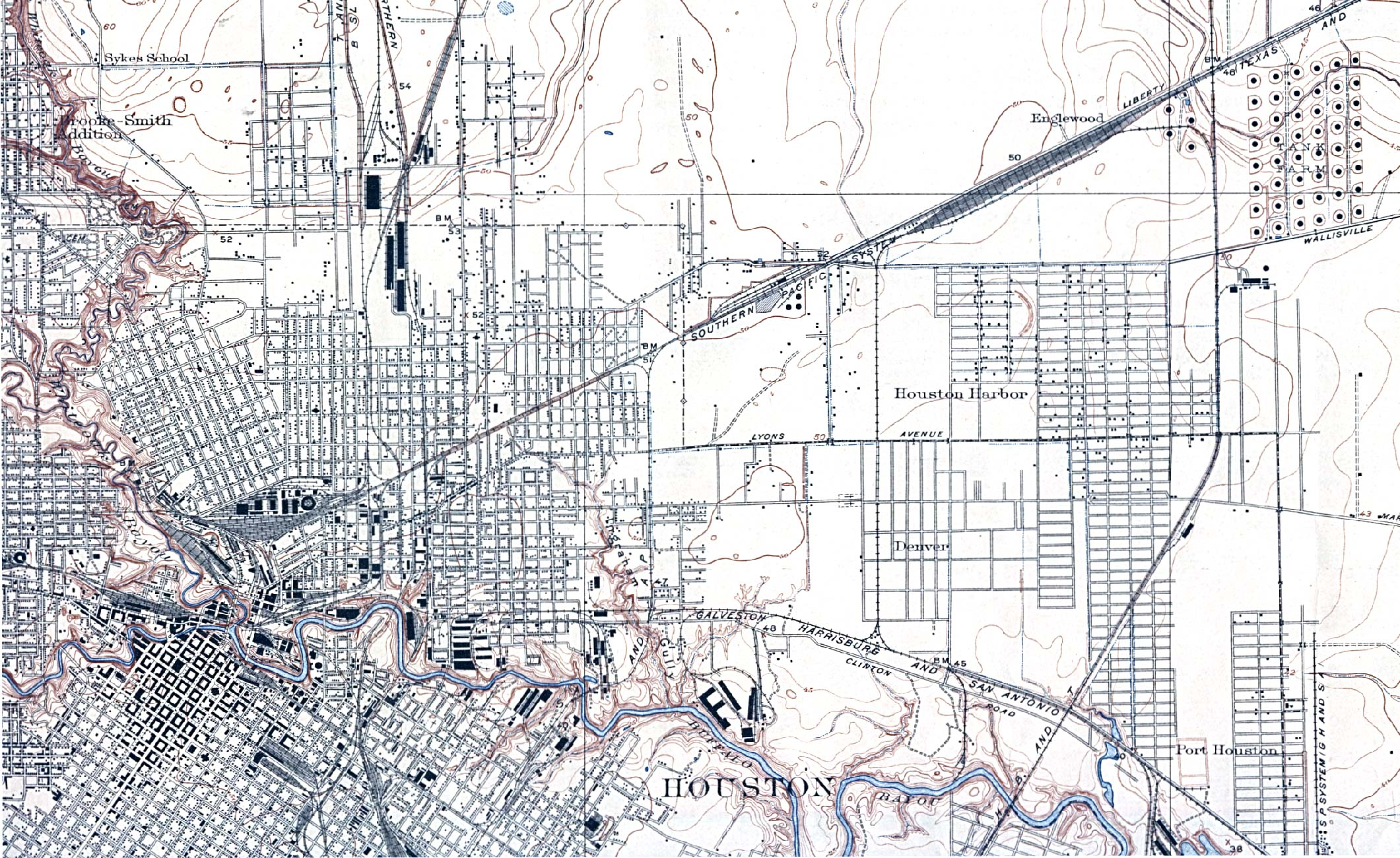 Historical Maps of U.S Cities, Houston, Texas (North East) 1922 Original Scale 1:31,680. U.S. Geological Survey (741K)