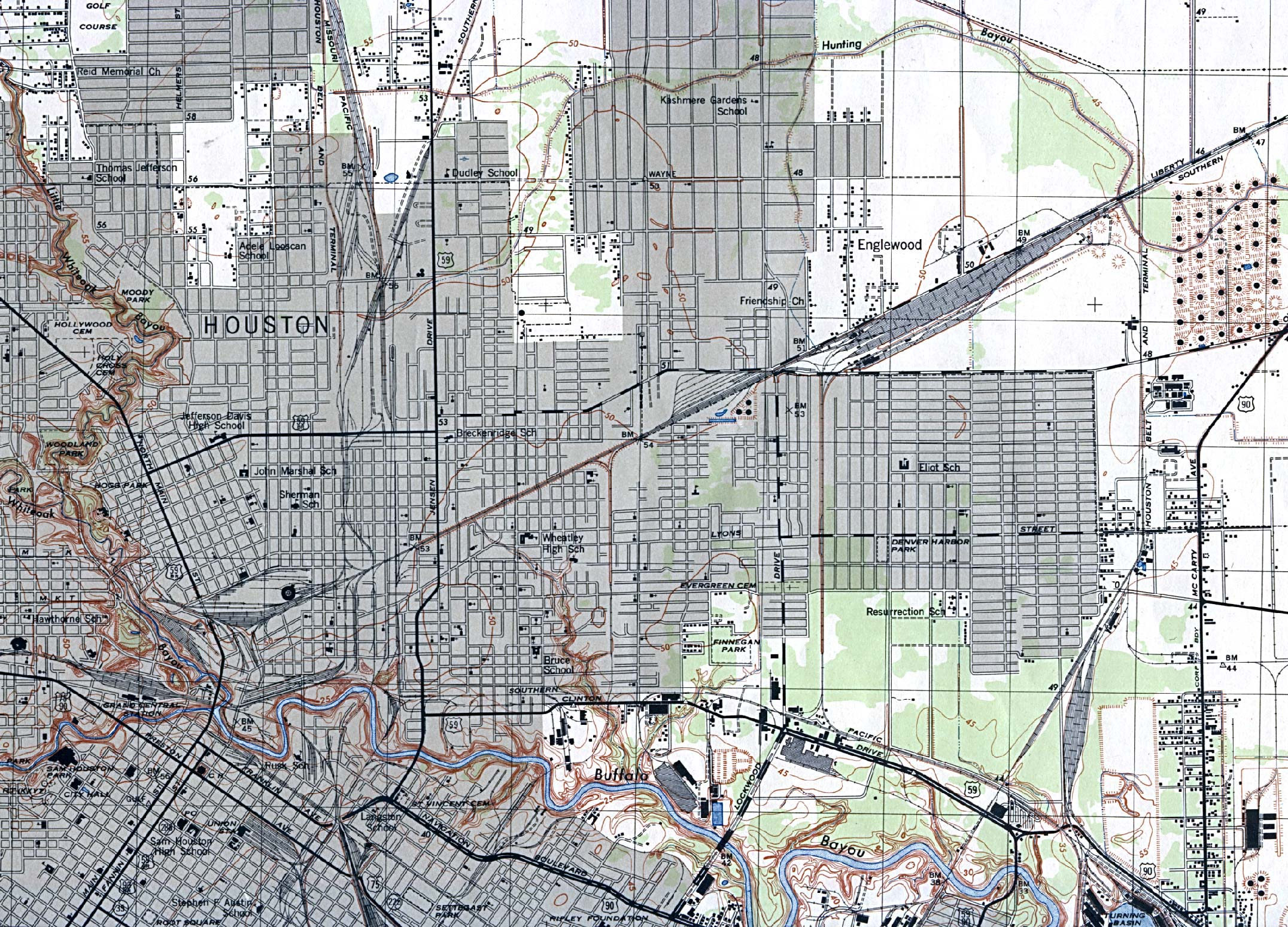 1946 u2013 Topographic map of Houston NE