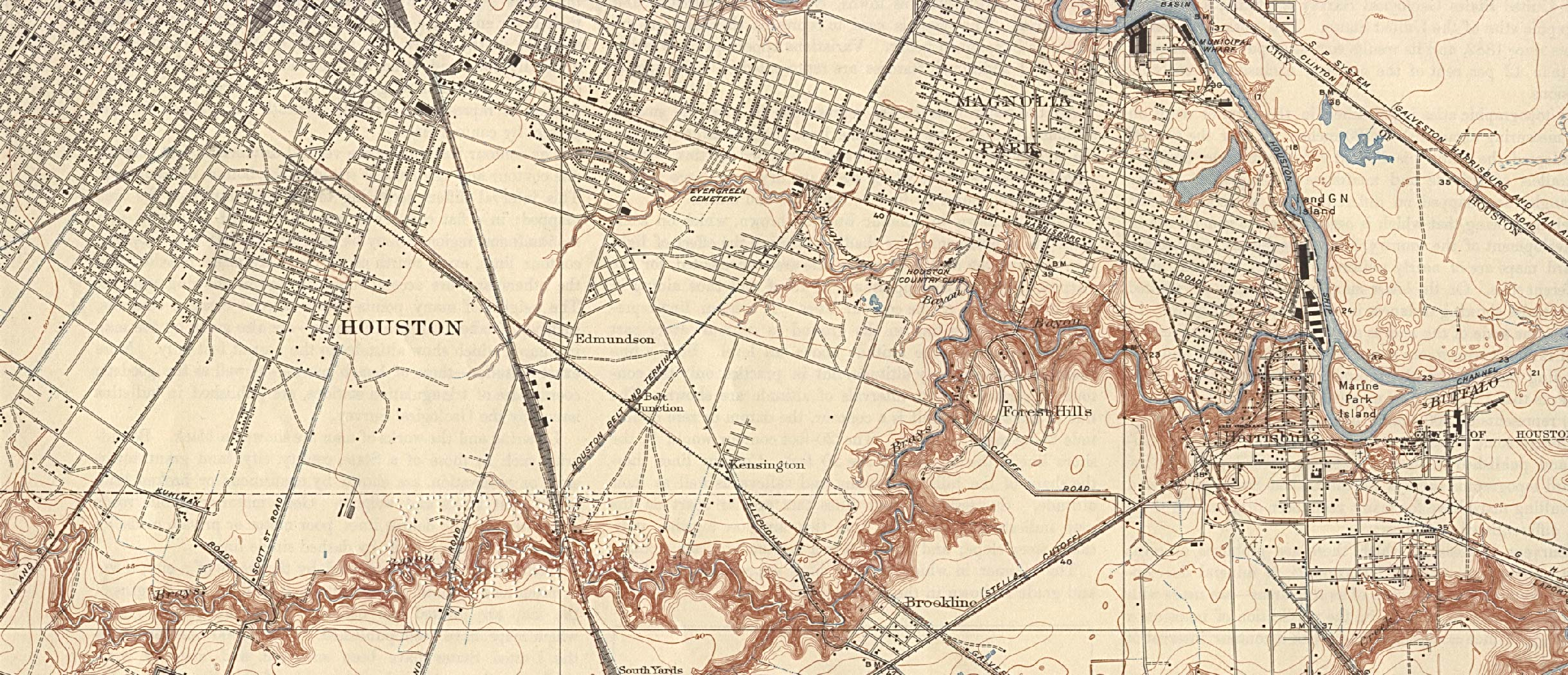 Historical Maps of U.S Cities. Houston, Texas (South East) 1922 Original Scale 1:31,680. U.S. Geological Survey. Reprint, 1932 (780K)