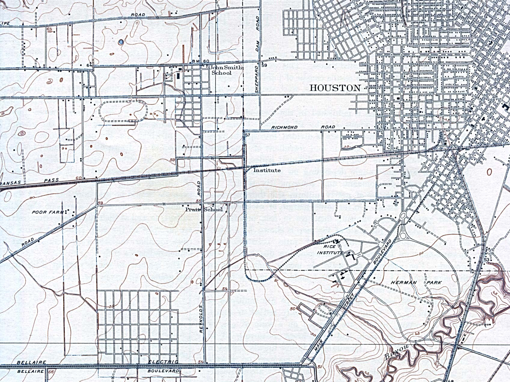 Historical Maps of U.S Cities. Houston, Texas (South West) 1921 Original Scale 1:31,680. U.S. Geological Survey (566K)