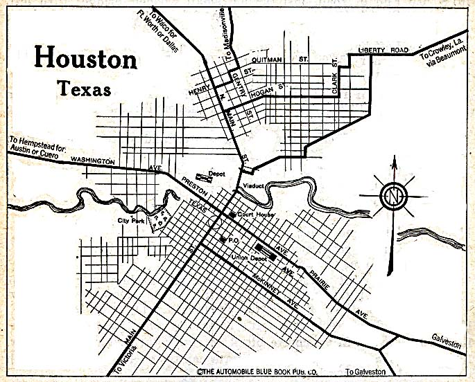 Old Houston Maps Houston Past - 1920 us road map