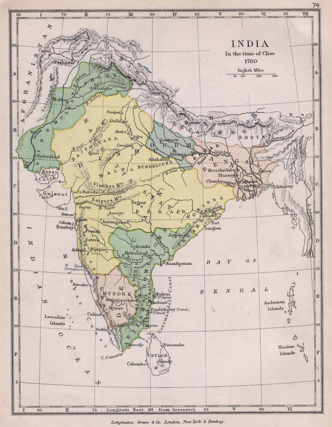 India 1760 from The Public Schools Historical Atlas edited by C. Colbeck. Longmans, Green, and Co. 1905