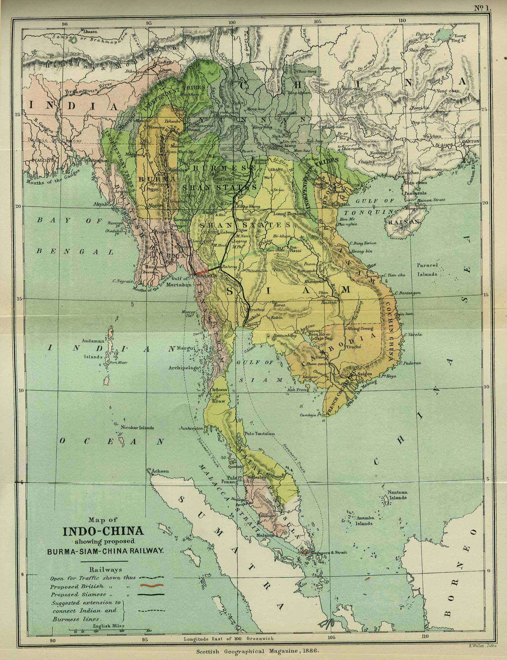 Online burma library reading room maps and satellite imagery title map of indo china showing proposed burma siam china railway publicscrutiny Gallery