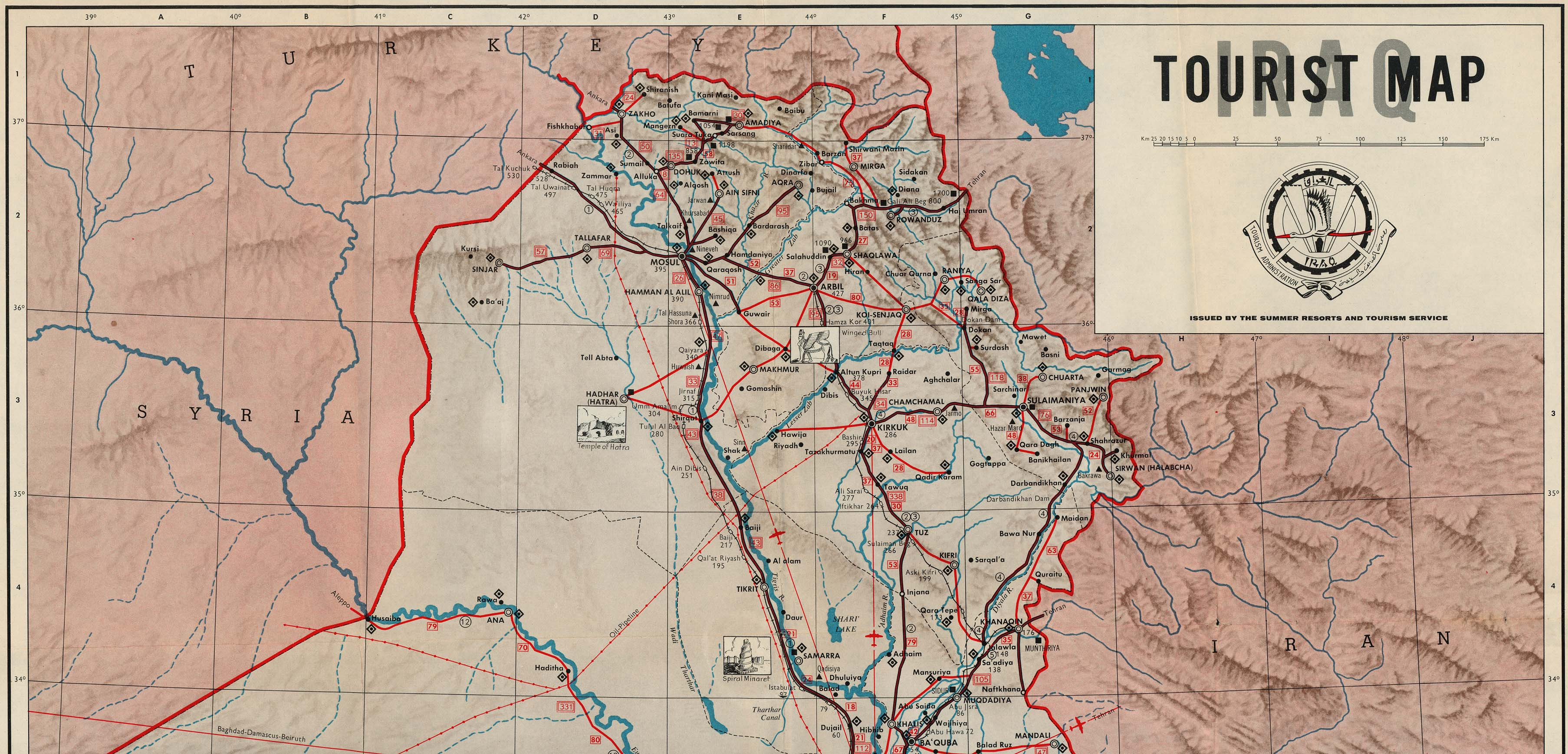 Iraq maps perry castaeda map collection ut library online iraq tourist map north gumiabroncs Gallery