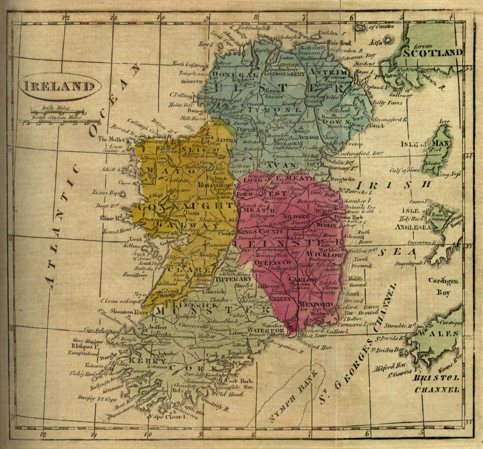 Map Of Ireland 1916.Genuki Ireland