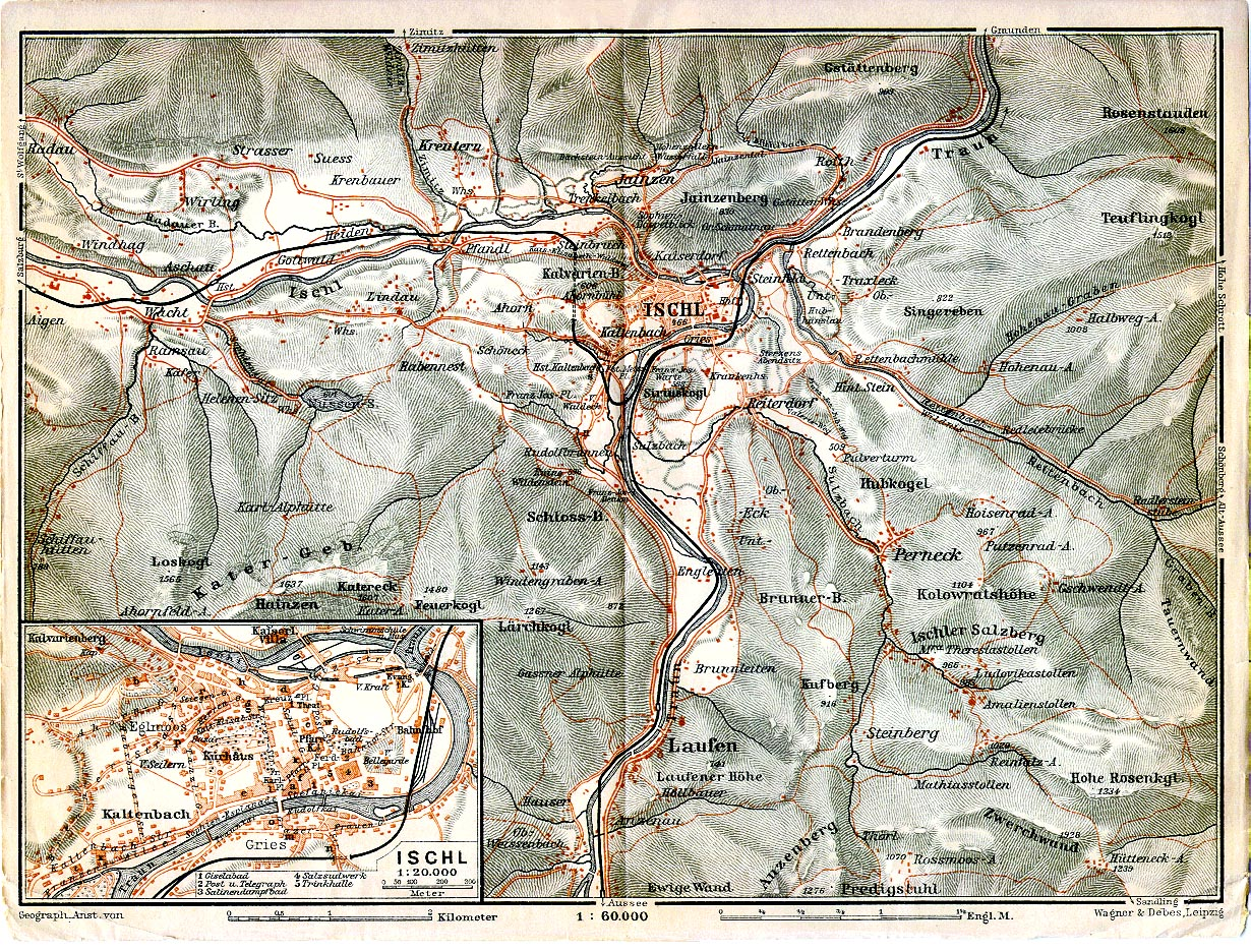 Map Of Austria .Ischl [Bad Ischl] 1911 From Karl Baedeker's Autriche-Hongrie, 13th Edition, Paris 1911. (774K)