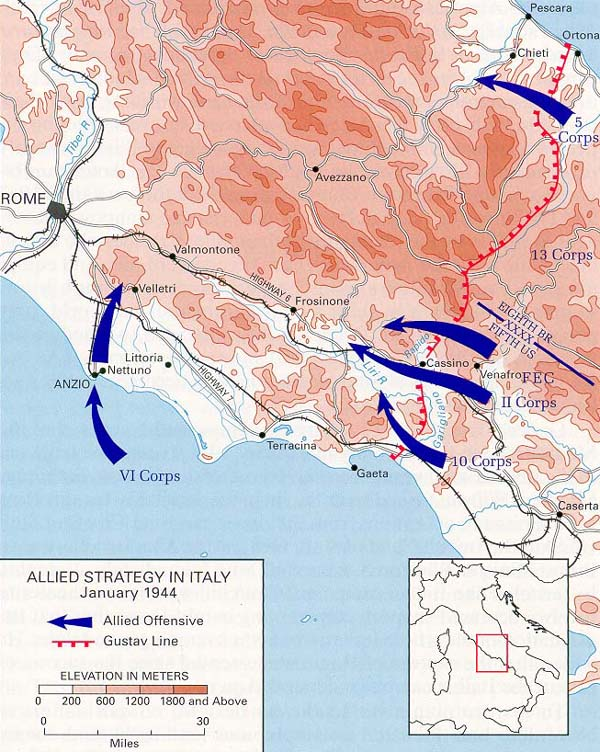 World war ii maps perry castaeda map collection ut library online rome arno allied strategy in italy january 1944 gumiabroncs Image collections