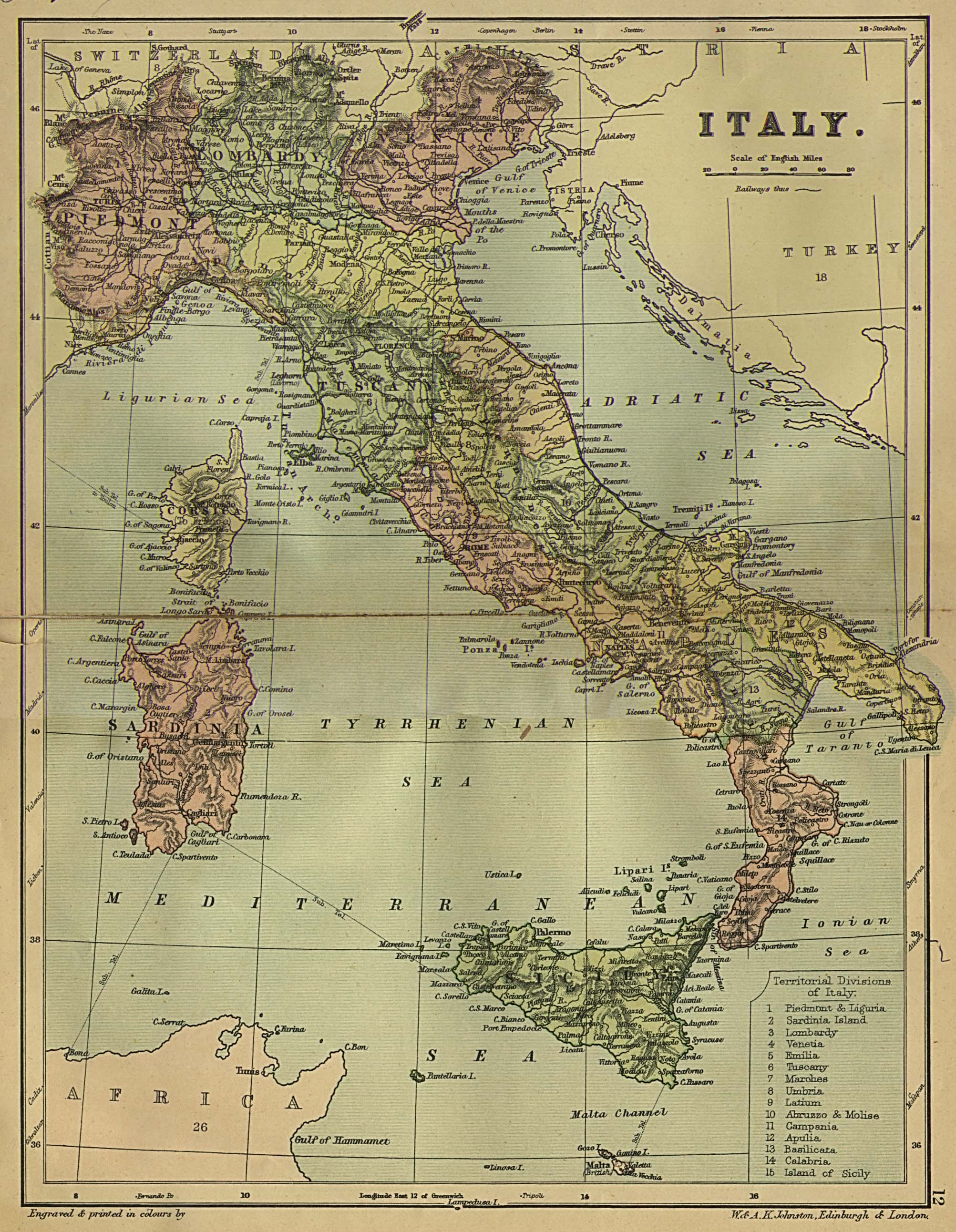 Large Map Of Italy With Regions.Italian Genealogical Research