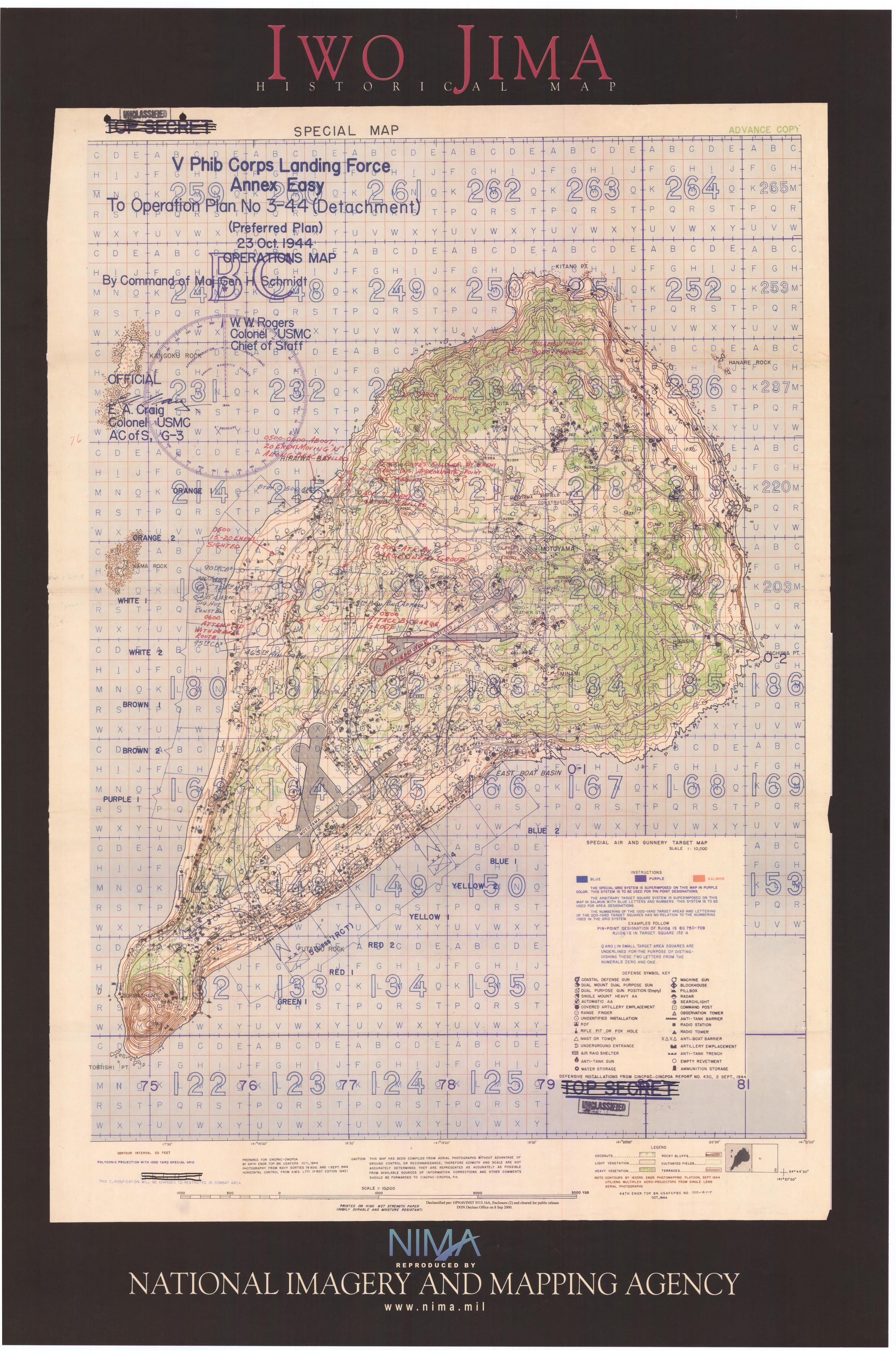 History Operations Map Of Iwo Jima Prepared 23 Oct 1944