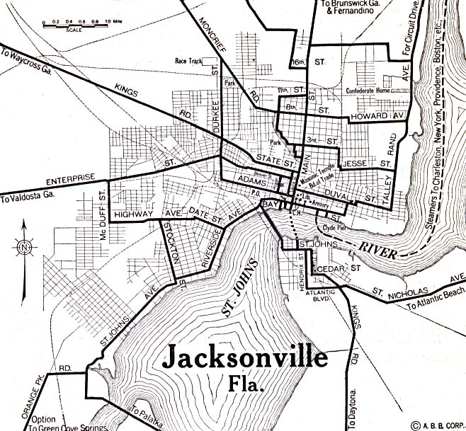 1920 Map of Jacksonville