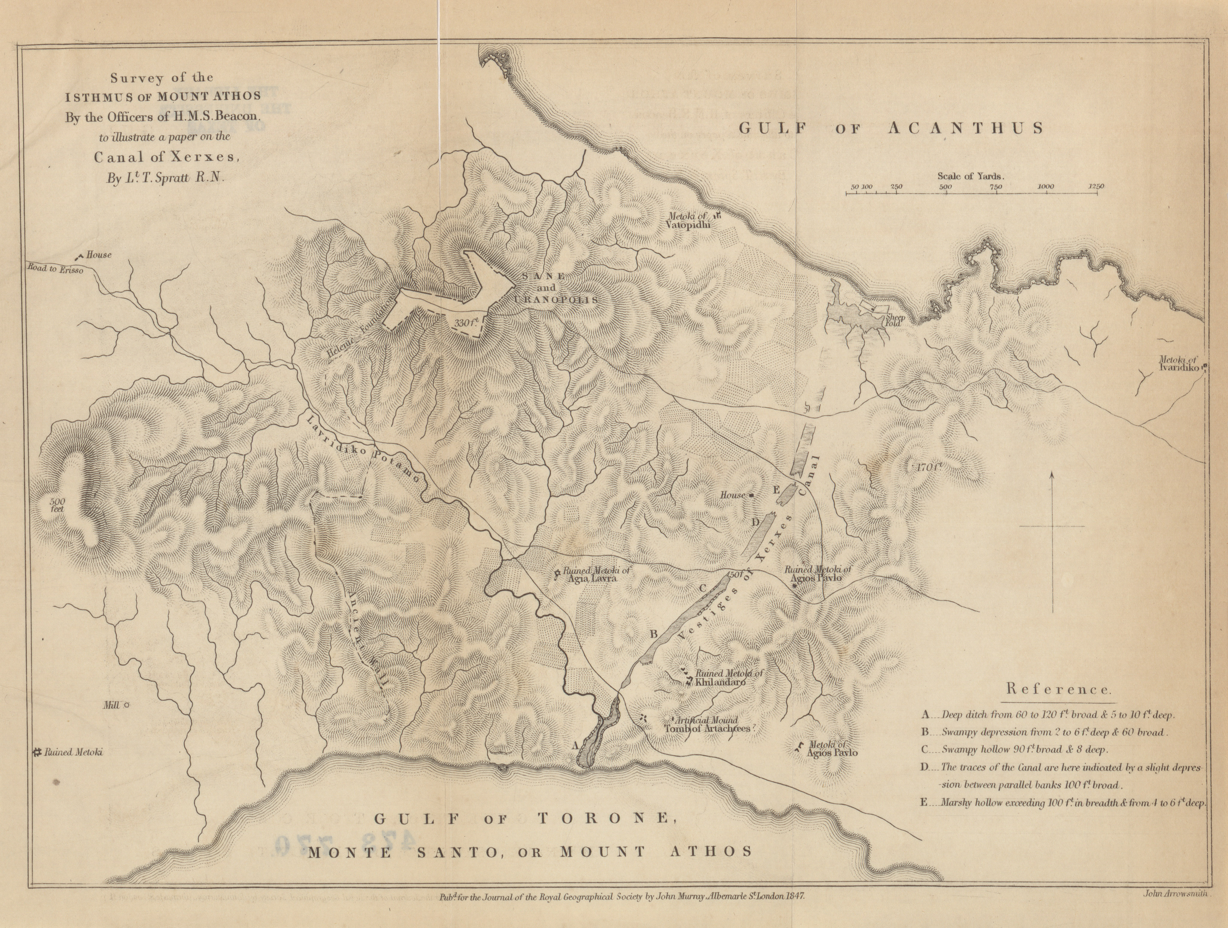 isthmus of mount athos by the officers of h m s beacon to ilrate a paper on the c of xer lt spratt r n 1847