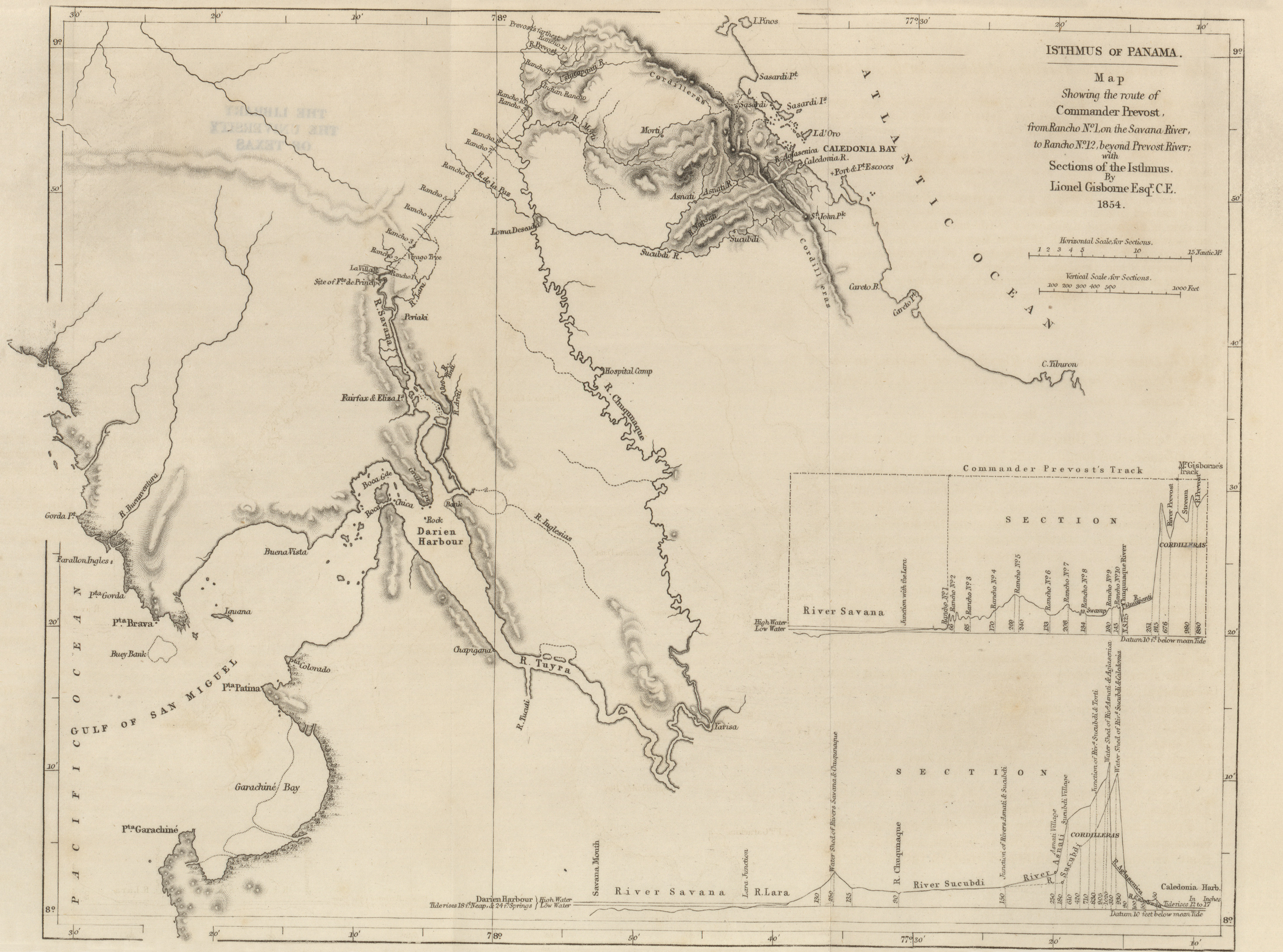 Map Showing The Route Of Commander Prevost With Sections Of The Isthmus Lionel Gisborne