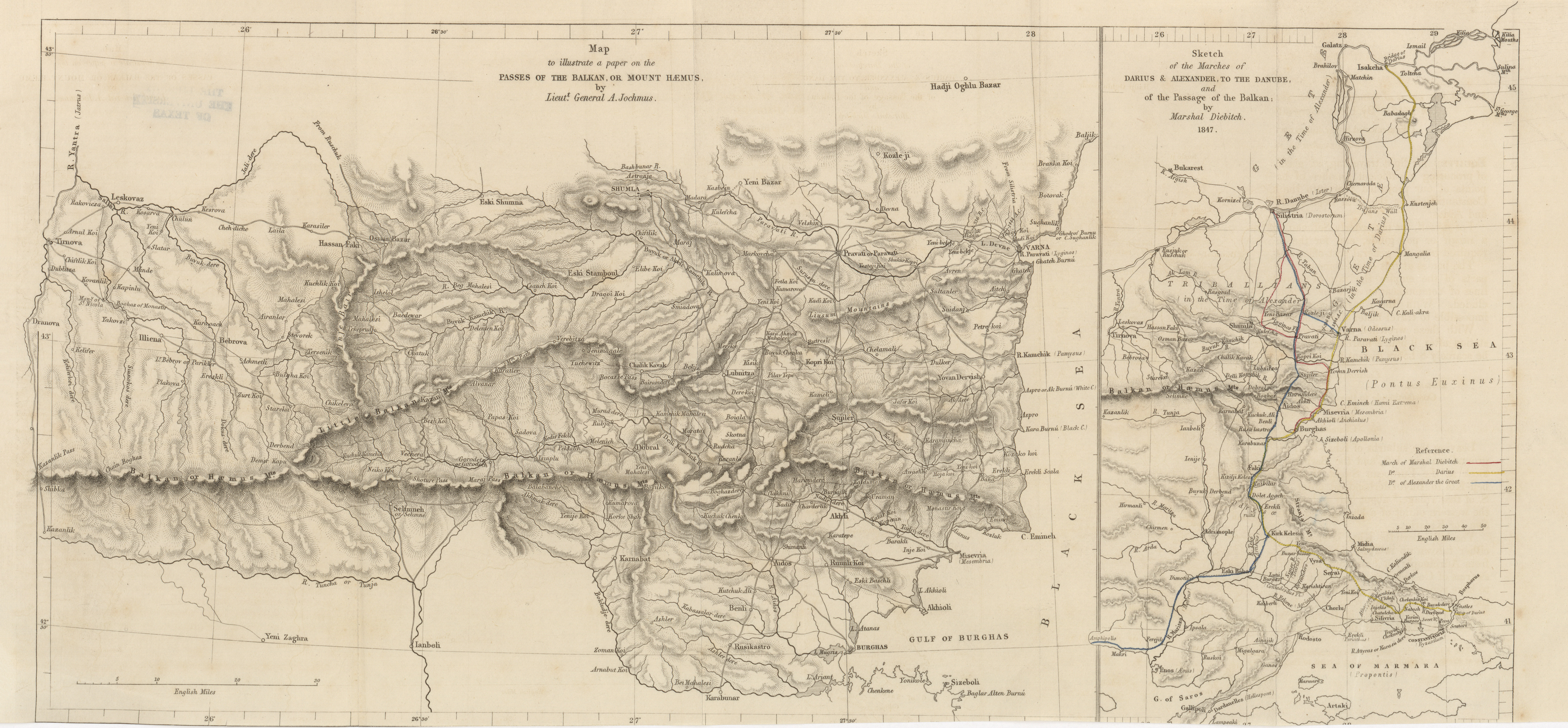 Maps from the journal of the royal geographical society of london map to illustrate a paper on the passes of the balkans or mount haemus lieut gumiabroncs Images
