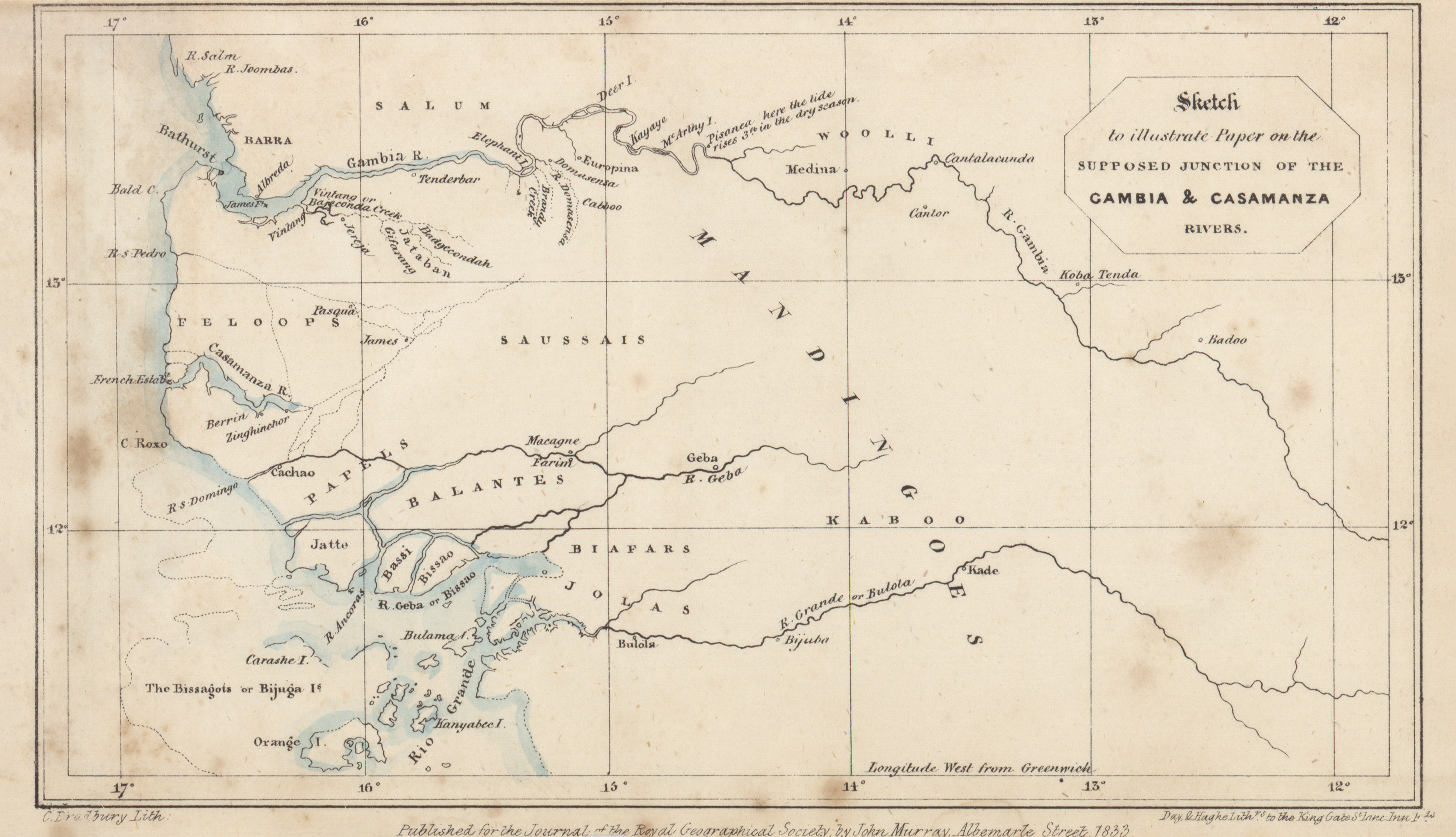 Maps from the journal of the royal geographical society of london sketch to illustrate paper on the supposed junction of the gambia and casamanza rivers rw hay gumiabroncs Gallery