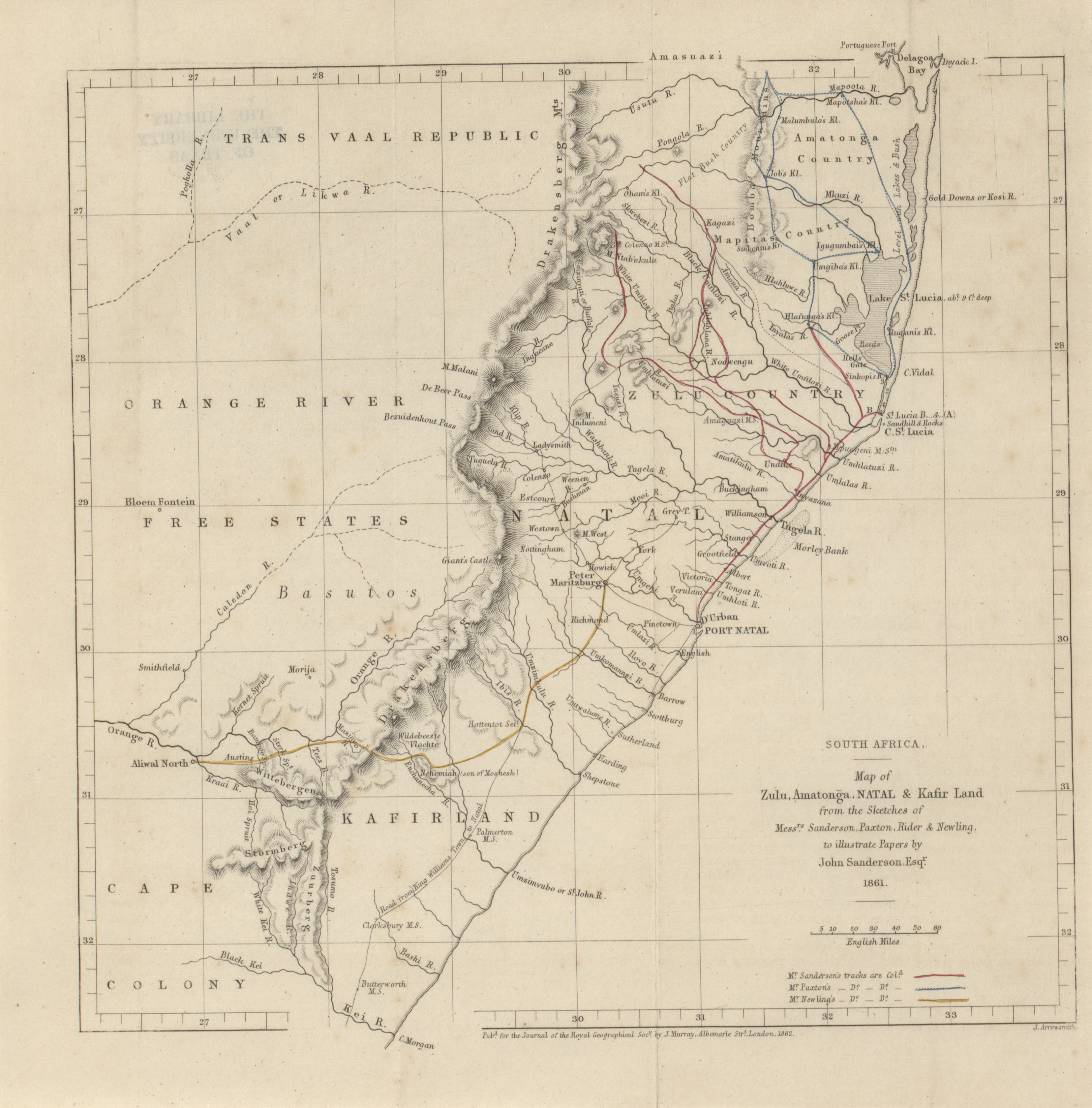 south africa map of zulu amatonga natal and kafir land from the sketches of messrs sanderson paxton rider and newling john sanderson