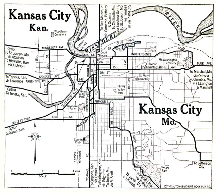 Historical Maps of U.S Cities. Kansas City, Kansas and Missouri 1920 Automobile Blue Book (139K)