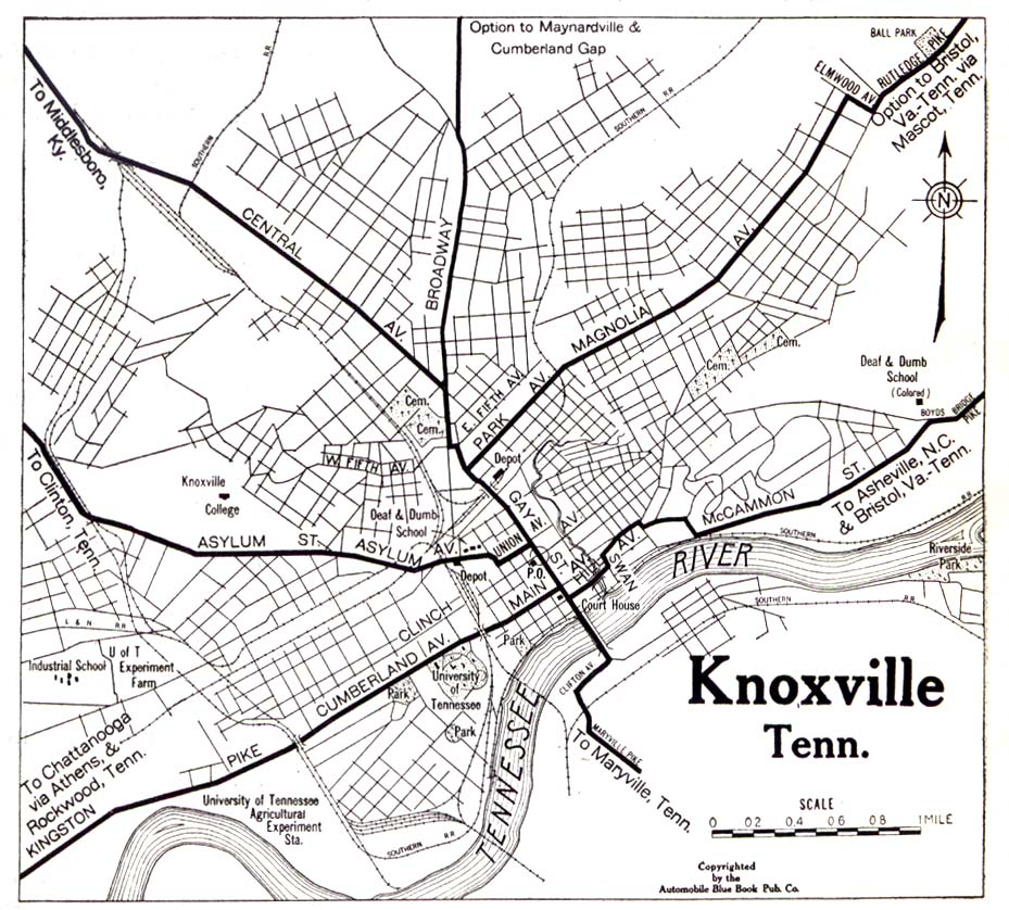 Historical Maps of U.S Cities. Knoxville, Tennessee 1919 Automobile Blue Book (323K)
