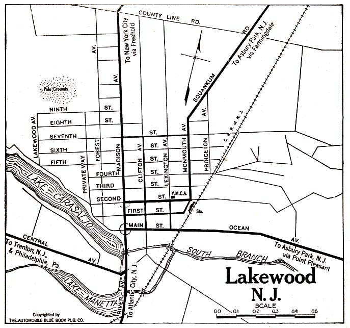 Historical Maps of U.S Cities. Lakewood, New Jersey 1920 Automobile Blue Book (137K)