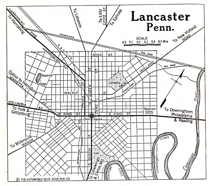 Historical Maps of U.S Cities. Lancaster, Pennsylvania 1920 Automobile Blue Book (156K)