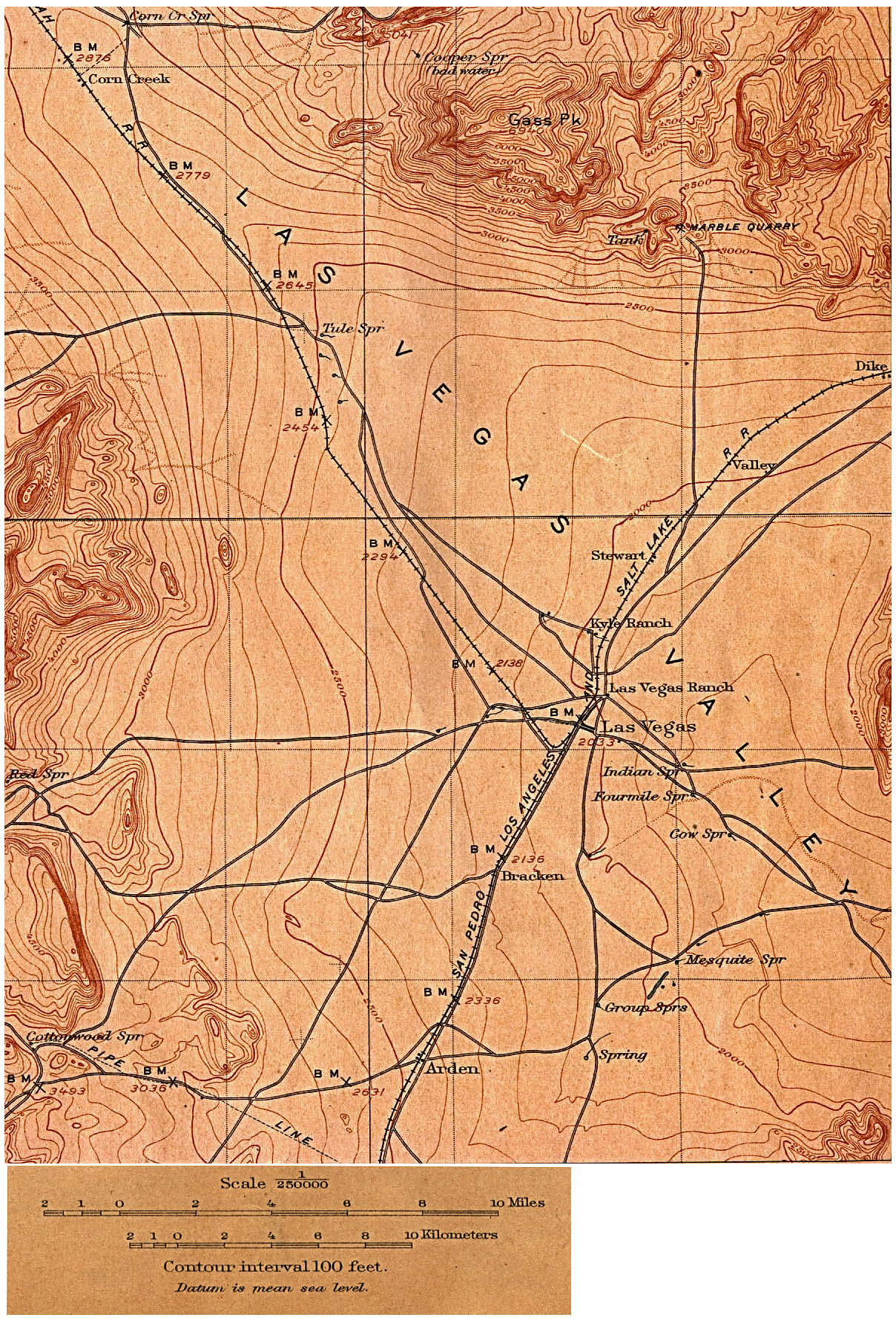 Historical Maps of U.S Cities. Las Vegas, Nevada 1908 [Topographic Map] original scale 1:250,000 U.S. Geological Survey 1908 (655K)