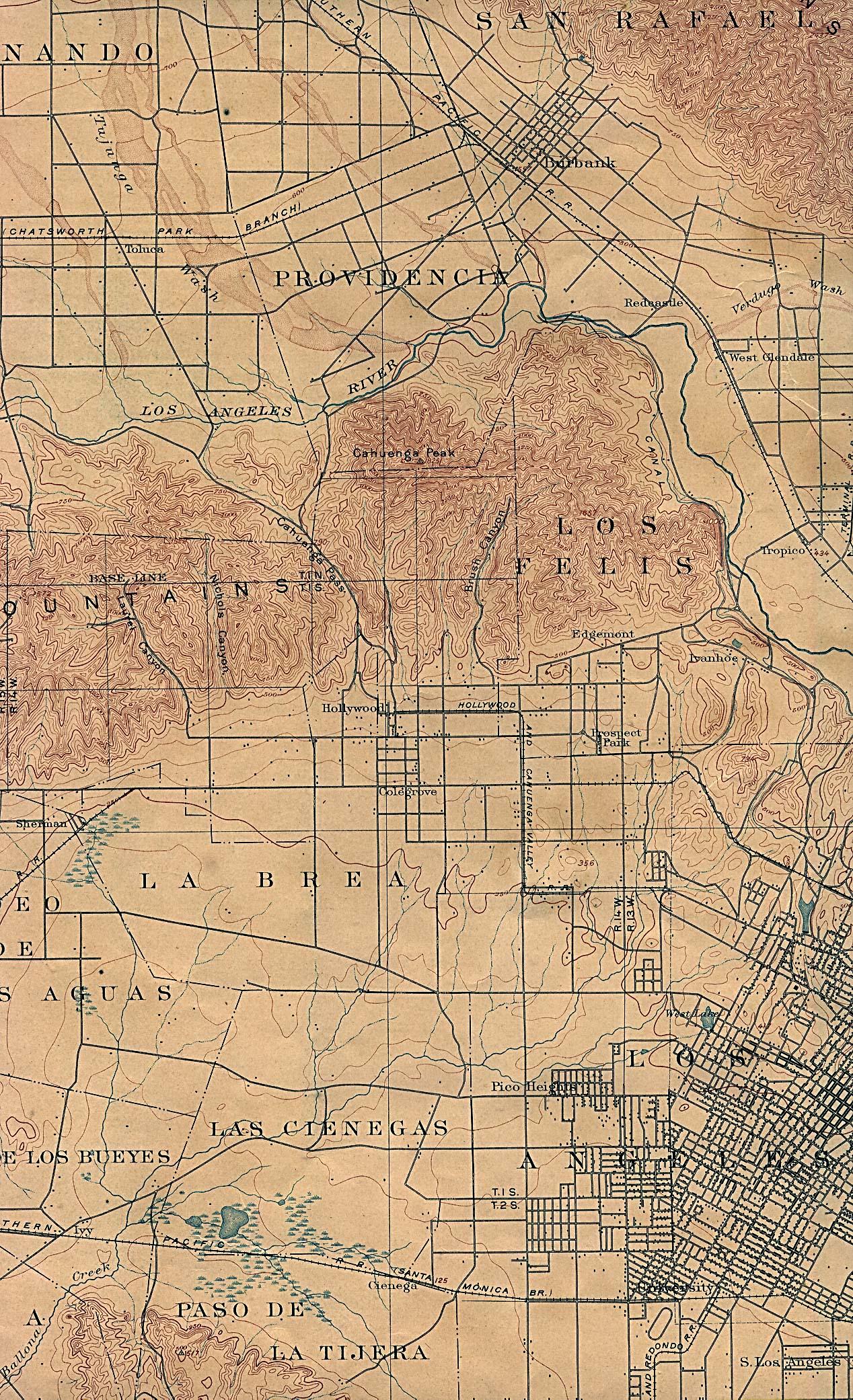 1902 Map Los Angeles Ca Old Westside