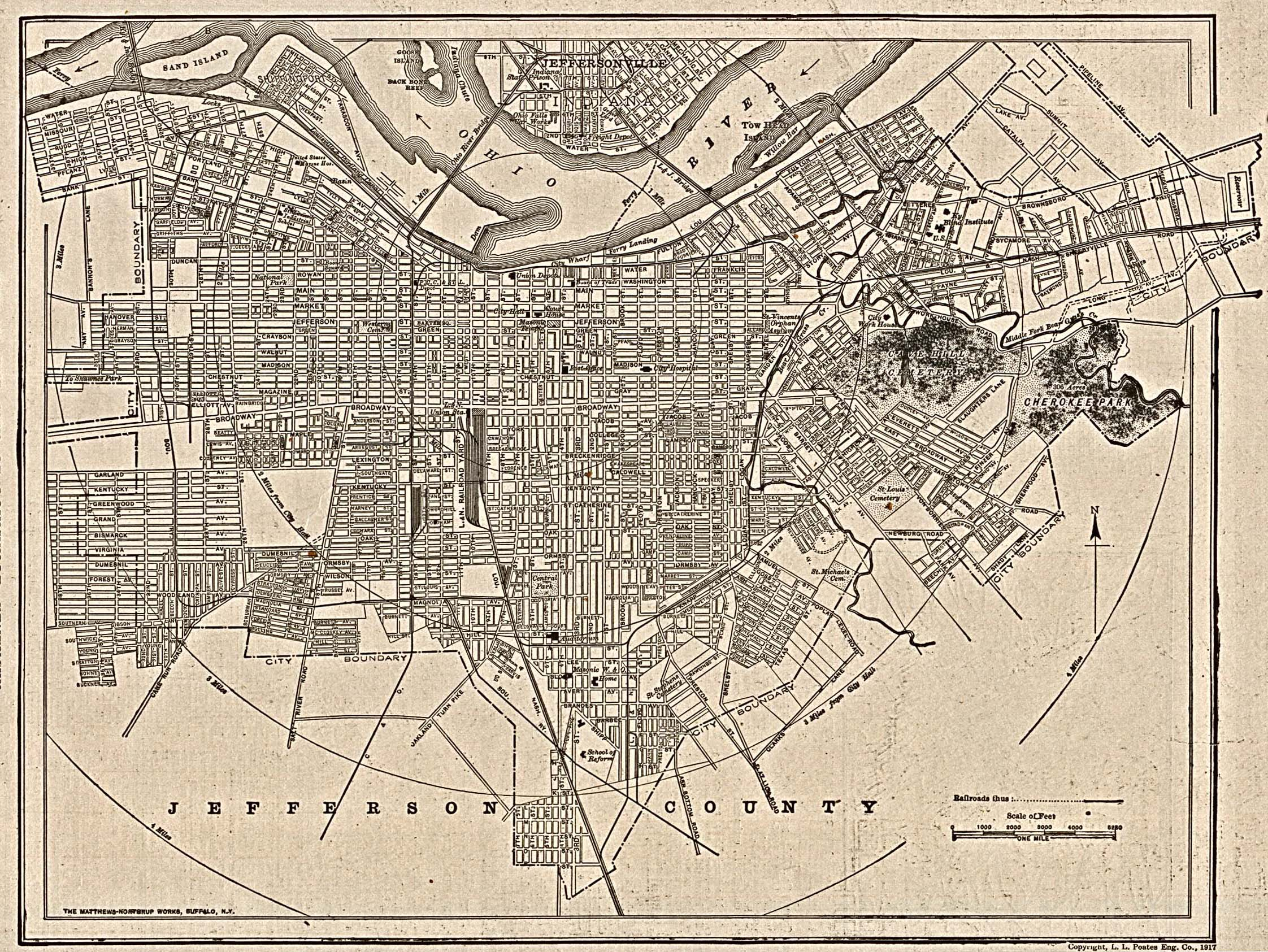 Historical Maps of U.S Cities. Louisville, Kentucky 1917 The New Encyclopedic Atlas and Gazetteer of the World. New York: P.F. Collier & Son, 1917 (1MB)