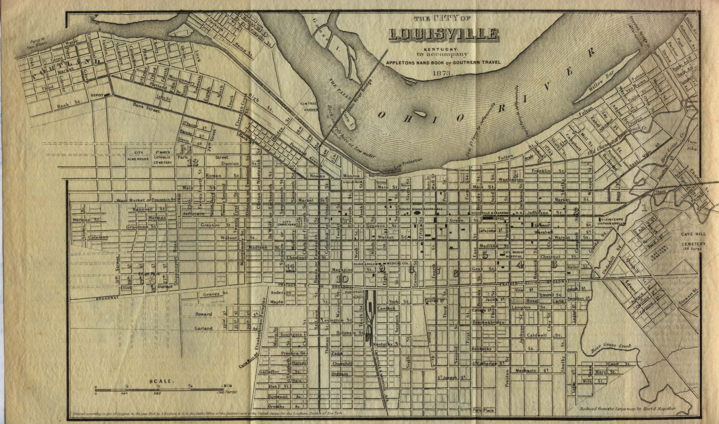 Historical Maps of U.S Cities. Louisville, Kentucky 1855 From Appletons' Hand-Book of American Travel, Southern Tour. Compiled and Edited by Charles H. Jones, 1873 (581K)