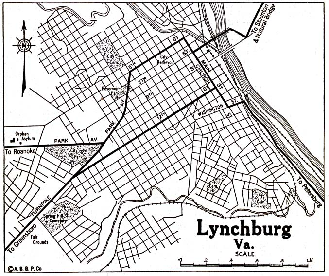 Historical Maps of U.S Cities. Lynchburg, Virginia 1920 Automobile Blue Book (176K)