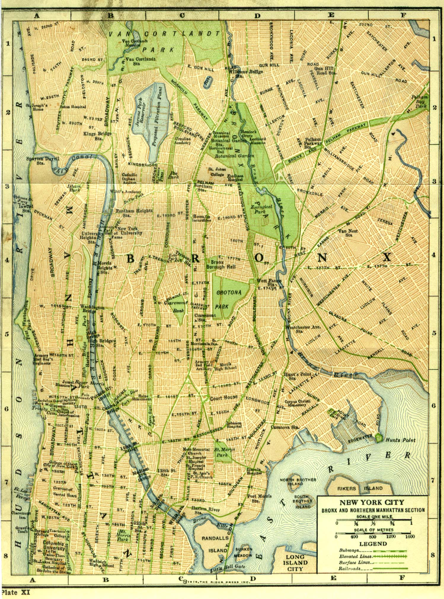 Historical Maps of U.S CitiesNew York City (Bronx and Northern Manhattan), New York 1916 Rider's New York City, Henry Holt and Company, 1916 (710K)