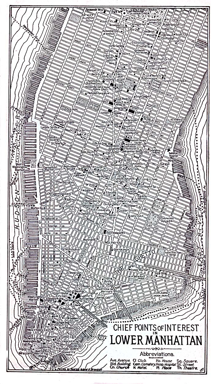 Historical Maps of U.S Cities. New York City (Lower Manhattan), New York 1920 Automobile Blue Book (488K)